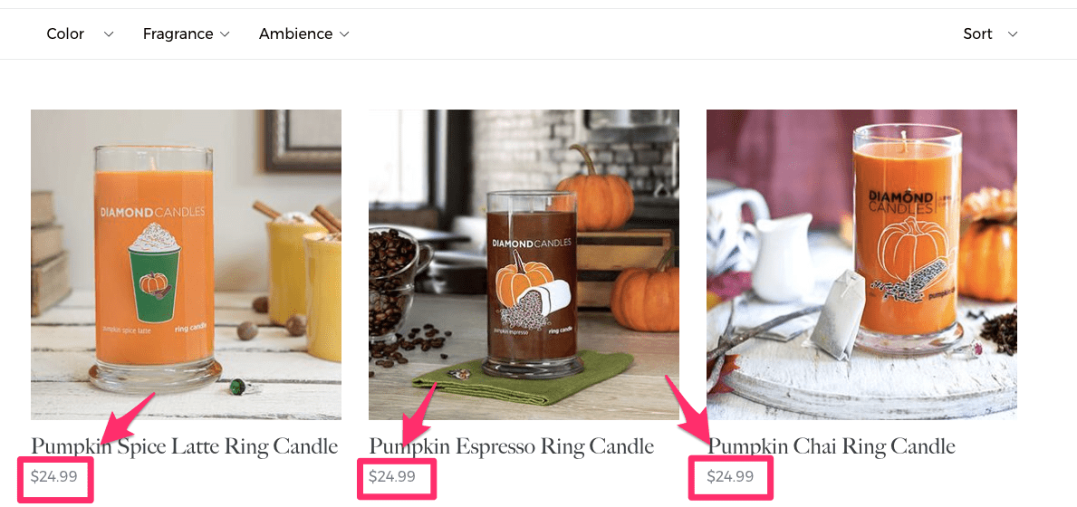 Fall Candles Diamond Candles