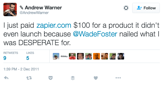 Warner Tweet About Zapier