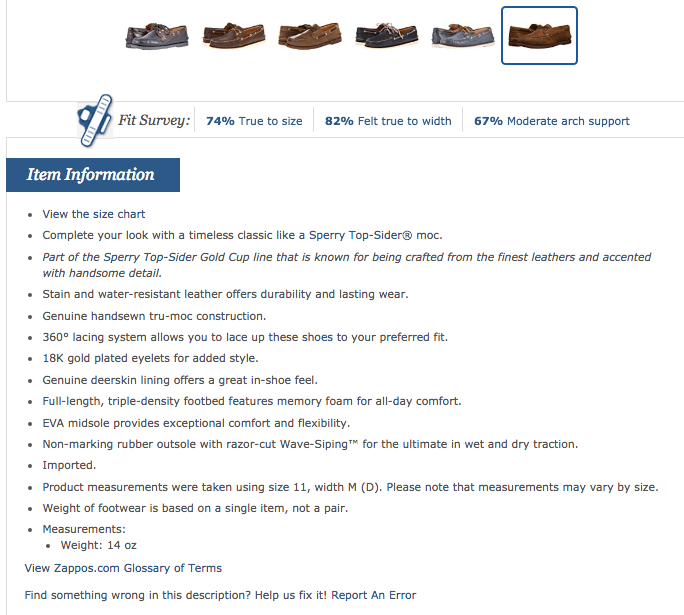 Sperry Gold A O 2 Eye at Zappos com