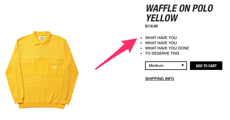 WAFFLE ON POLO YELLOW Palace Skateboards USA3