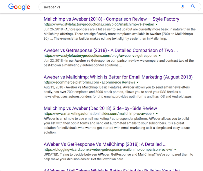 web search comparison