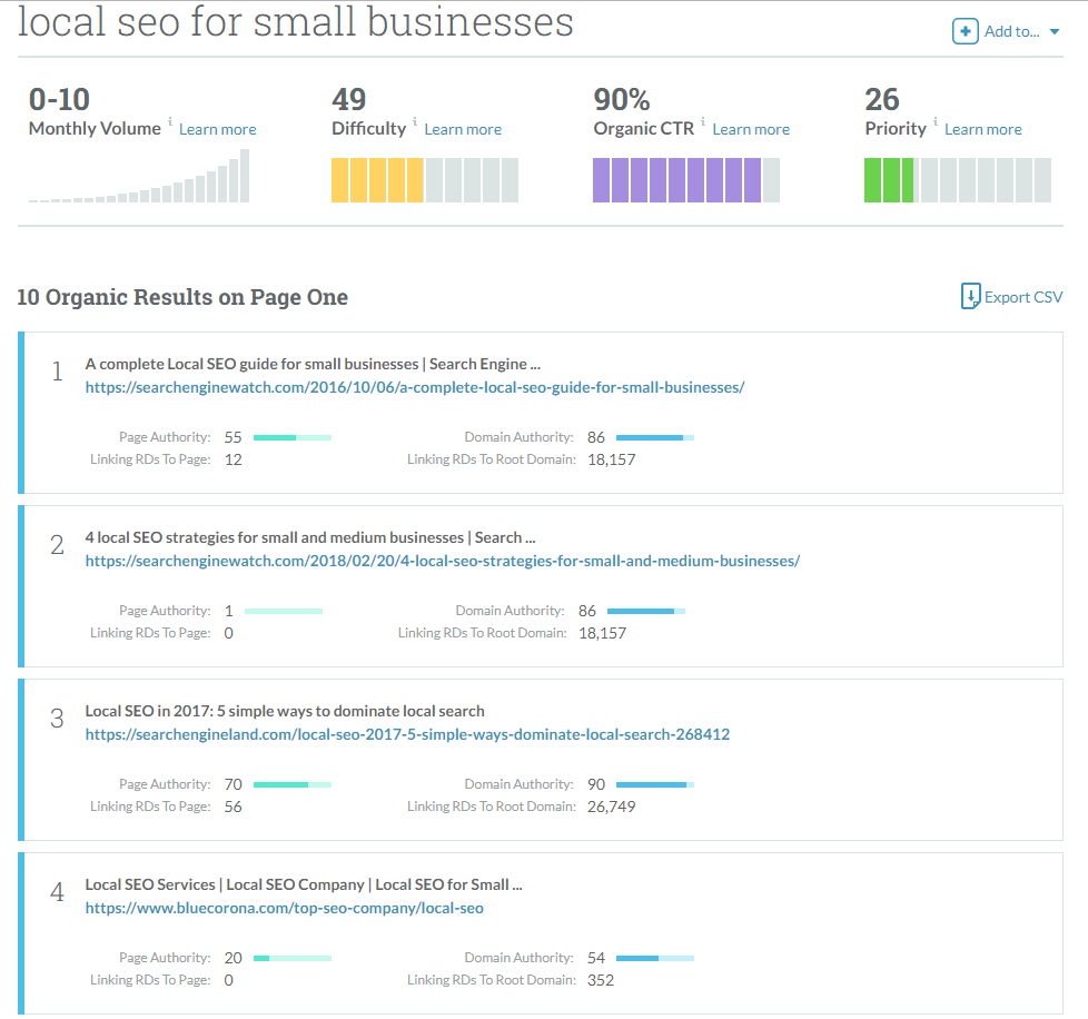 SERP results