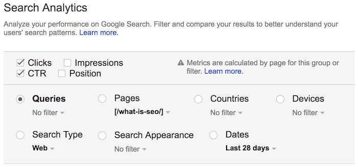 queries for search analytics