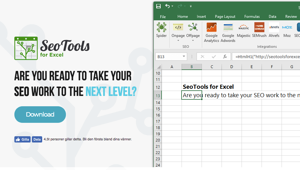 download SEO Tools for Excel