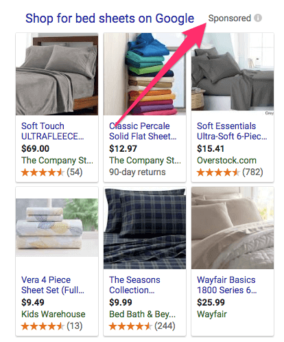 sponsored items on web search