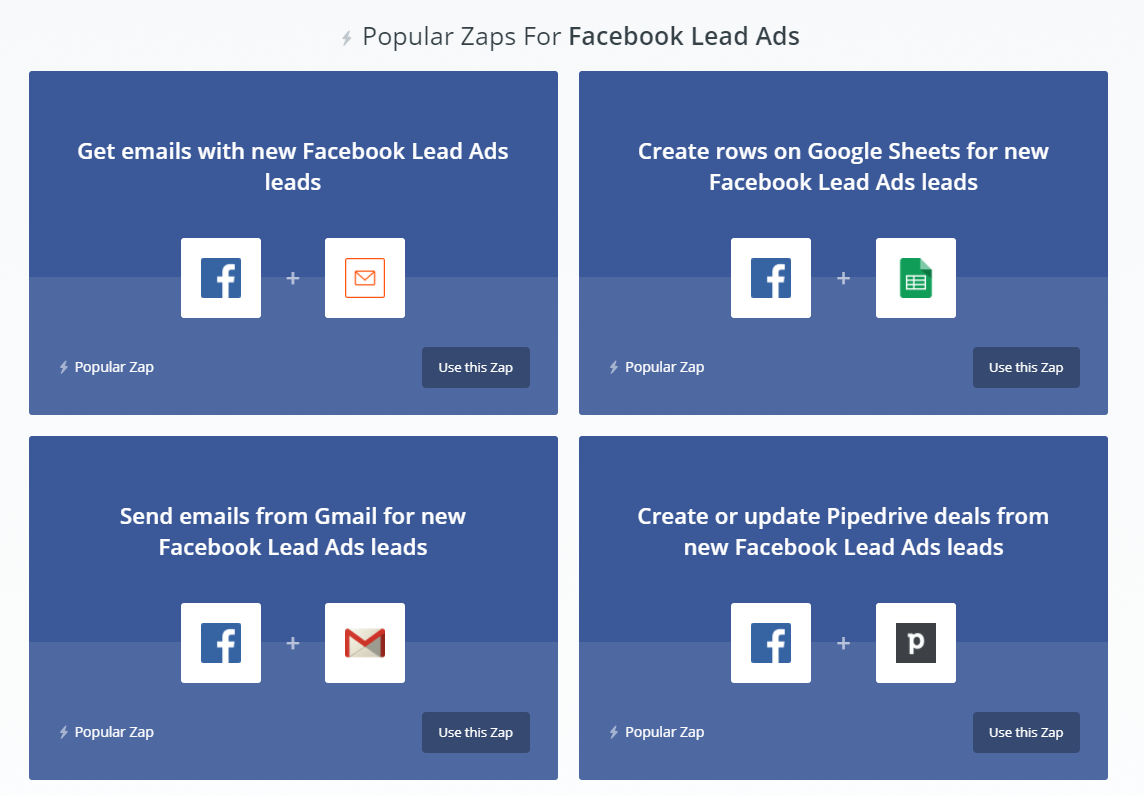 Zaps for lead ads