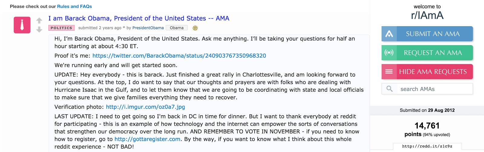 use AMA (Reddit speak for