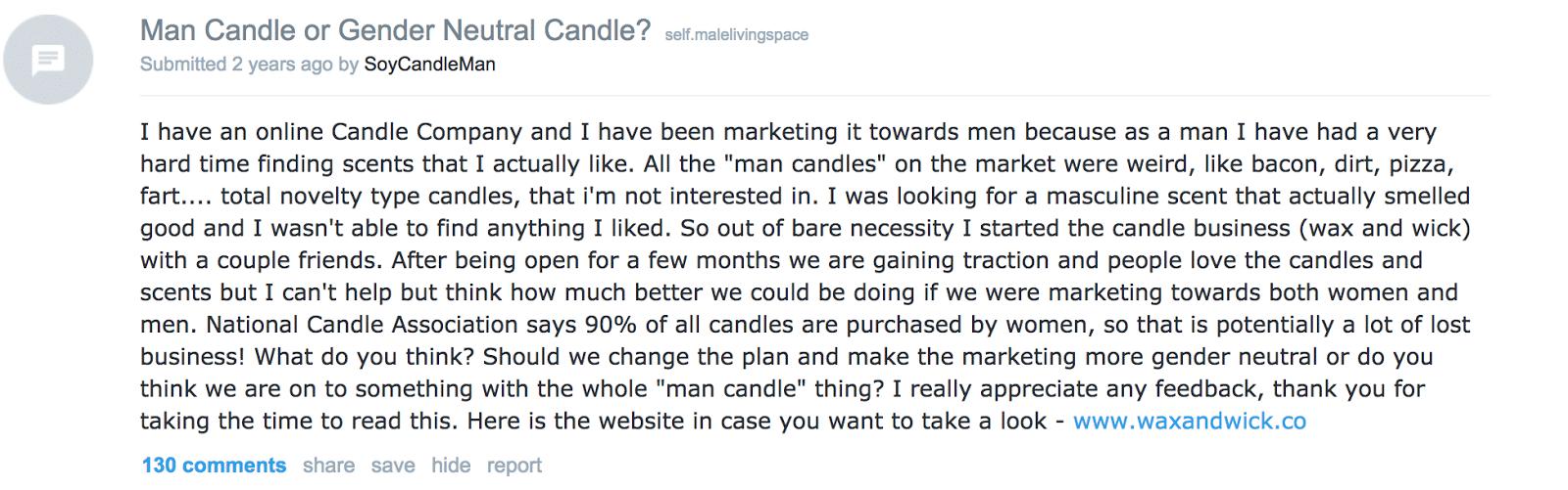 Redditors candle company testimony