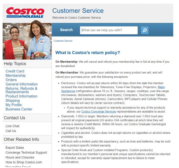 costco return policy